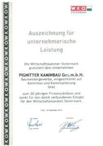 Urkunde der WKO für das Firmenjubiläum von Pignitter